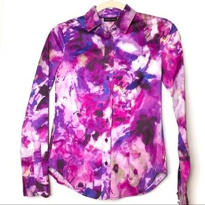 NY & Co Sz XS button down shirt watercolor